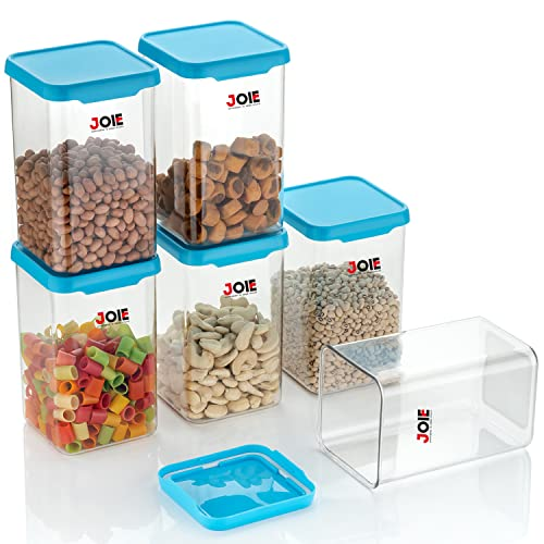 Joie Air Tight Square Plastic Containers Set for Kitchen Storage – 1100ml – Pack Of 6, Kitchen Organizer Items and Storage, Containers for Airtight Plastic Square Container Set for Kitchen Storage, Unbreakable & Air-Tight Design (Blue)