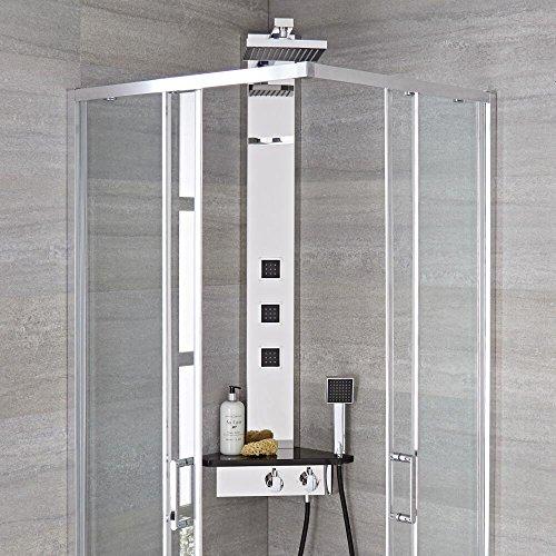 Hudson Reed Duschpaneel Alcove - Thermostatisches Duschpaneel zum Eckeinbau aus Edelstahl mit Ablage