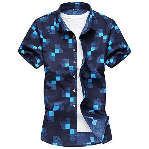 Camisa de Manga Corta con Bloqueo de Color de Talla Grande de Verano para Hombre, Solapa, Moda Informal, Estampado de Negocios, Camisa básica, Tops M