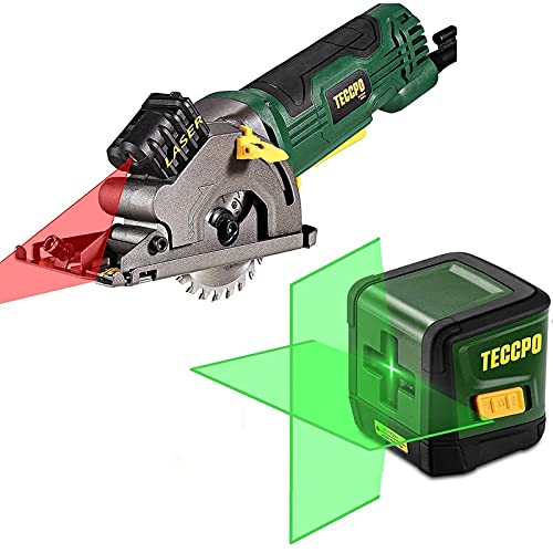 """Line Laser Level TECCPO, 50ft Green Line Laser level, Self Leveling Tool, Cross Mode, 4.8Amp Compact Circular Saw with Laser Guide, 3-3/8"""" Mini Saw, 3 Saw Blades, Scale Ruler and Pure Copper Motor"""