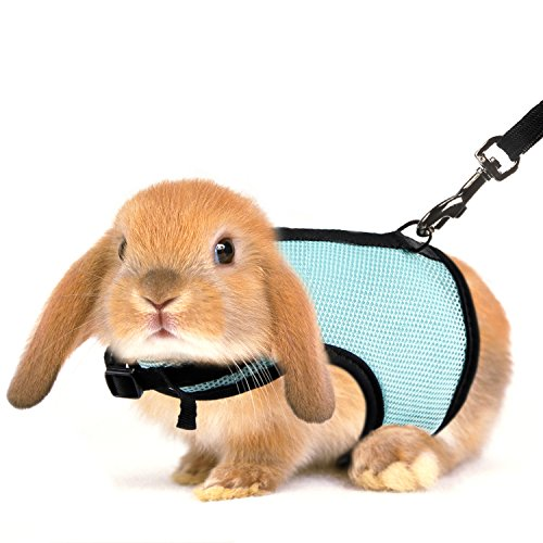 MEWTOGO 2 pcs Adjustable and Breathable Bunny Leash and Harness with M and L Size