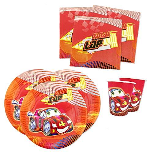 Papierdrachen Juego de fiesta con 36 piezas, diseño de coche rojo Little Red – Vajilla de fiesta con vasos, servilletas y platos de cartón para fiestas infantiles