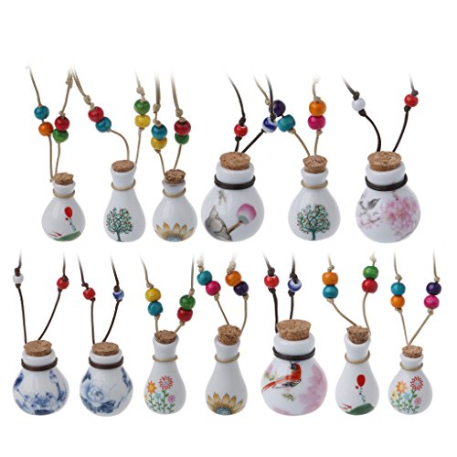 Joocyee Lucky Birds Perfume Wishing Bottle Collar con Colgante para Mujer Joyas de cerámica, Collar con Botella de Perfume Colgante Color Pelo Mixto, al Azar