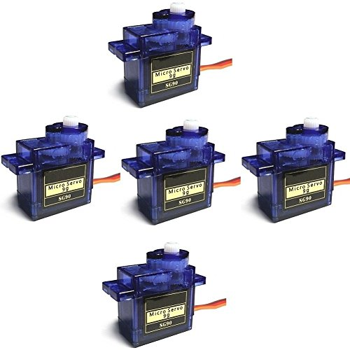 SG90 Servo 5pack 180 degrees 9G Micro Servo Motor for RC Robot Helicopter Airplane Boat Controls