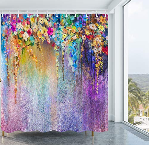 Colorful Flower Shower Curtain Watercolor Floral Shower Curtain Set Fabric Bathroom Mildew Resistant Waterproof Shower Curtain with Plastic 12pcs Hook 72X72 Inch