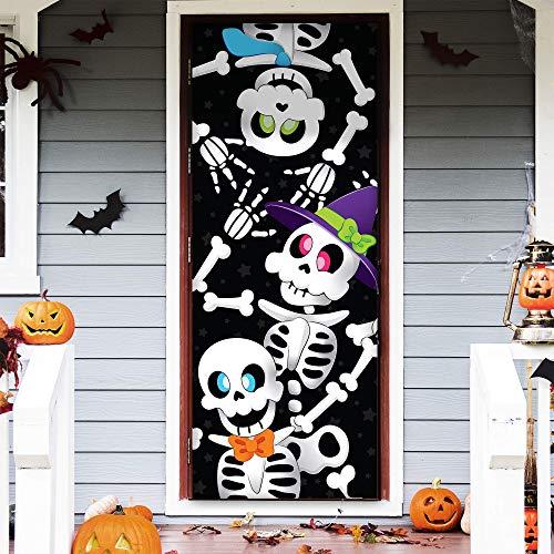 JOYIN 3D Diseño Esqueleto Lindo Halloween Cuebierta Pegatina de Puerta de Casa 76 x 182cm Decoración de Puertas, Ventanas y Paredes de Halloween 🔥