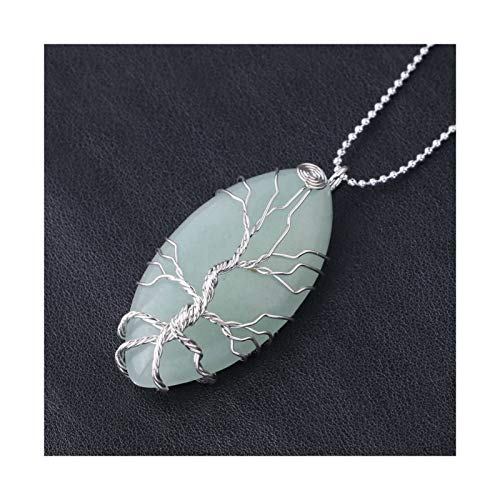 DERFX Natural Stone Shape Necklace Pendant Purple Crystal Lava Quartz Silver Color Wire Wrap Tree Women Men Jewelry Accessories (Metal color : Green Aventurine)