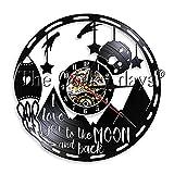 Nfjrrm Ti Amo sul Retro della Luna Lampada da Parete Decorativa Orologio da Parete con Disco in Vinile Lampada da Parete a LED Regalo Coppia 30x30cm