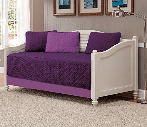 Linen Plus 5-teiliges Tagesbett-Bezug, solide geprägte Tagesdecke, dunkelviolett/hellviolett.