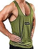 Satire Gym Camiseta Stringer para Hombre - Ropa Deportiva Funcional - Adecuada para Workout, Entrenamiento - Camiseta de Tirantes (Verde Oliva monteado, XXL)