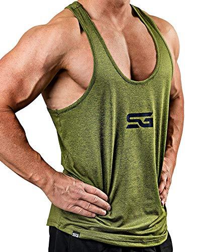 Satire Gym Fitness Stringer Herren - Funktionelle Sport Bekleidung - Geeignet Für Workout, Training - Tank Top (olivgrün meliert, XL)