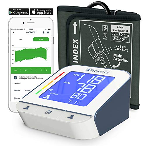 iProvèn Blood Pressure Monitor Clinical Upper Arm -Premium Technology: Double Pulse Detection Technology - Lightning Fast (30-40 sec) Highly Accurate - Free App and Cuff (White-Gray)
