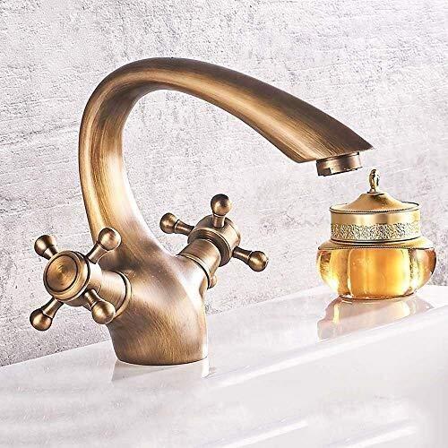 Yongenee Cuenca del Antiguo Europeo de Grifo Grifo de Cobre Idílico Retro Gabinete de baño Caliente y fría del Grifo de Lavabo Hermosa práctica (Color : A)