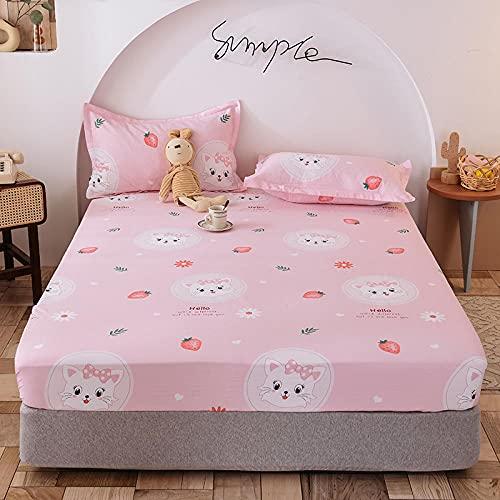 Funda de colchón,Funda de colchón Antideslizante para niños de Dibujos Animados de algodón, sábanas Ajustadas Impresas para niños y niñas-M_150x200 + 25cm