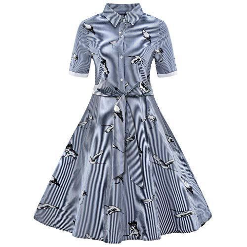 Amphia - Kurzärmliges Vintage-Kleid im Hepburn-Stil, gestreifter Gürtel, großer Swingrock, Frauen Plus Size Printed Streifen Vintage Gürtel Verband Shirt Swing Dress(Blau,M)
