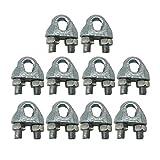 (Confezione da 10 pezzi) M6 8mm Ø Metallo zincato DIN 741 Morsetti Imbracature Clip per cavi Aggraffature Bullone a U Fissaggio a sella per fune d'acciaio (10)