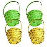 VALICLUD 4Pcs Canasta de Mimbre de Pascua Mini Huevos de Pascua Canastas de Bambú Canastas de Canasta de Pascua Portátiles Canasta de Almacenamiento Decorativa de Pascua para Favores de La