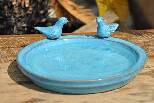 Kunert-Keramik Vogeltränke mit Zwei kleinen Vögelchen,rund,jadegrün/blaugrün glasiert,30cm