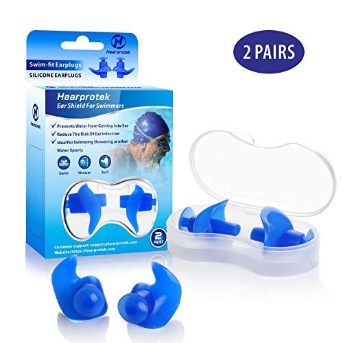 Hearprotek Natación Tapones para los oídos, 2 Pares Adulto de Tapones Impermeables Reutilizables de Silicona para Nadadores baños ducharse y Otros Deportes acuáticos (Azul)