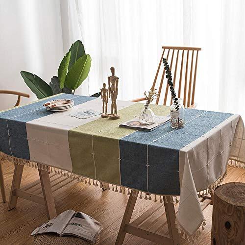 Sunhao tafelkleed, katoen, linnen, tafelkleed, stof, woonkamer, koffietafel, tafelkleed, geruit tafelkleed, rechthoekig 140 x 160cm B