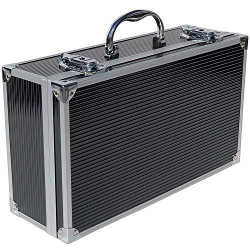ECI® Alubox Alukoffer Aluminium Koffer Werkzeugkoffer leer (LxBxH) 353x202x115 mm Alu Box schwarz