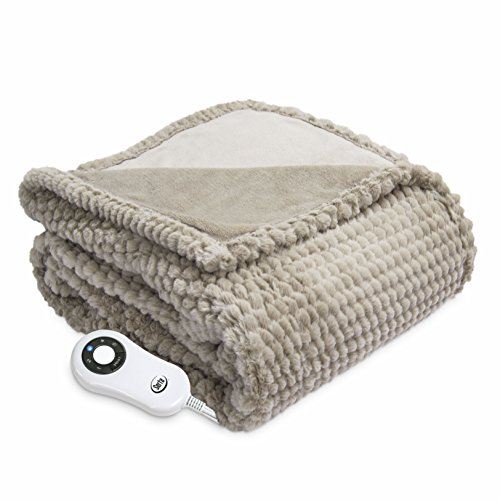 Serta Heated Electric Honeycomb Faux Fur Throw- with 5 setting controller, 50 x 60', Sand Model 0917