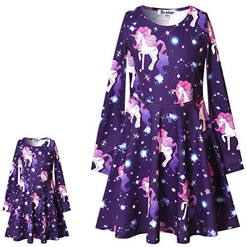 Unicorn Dresses for Girls & Doll 18 inch Long Sleeve Fall Winter Dresses 6 7