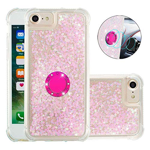 Coque pour iPhone Se 2020,Brillante Cristal Diamant Anneau Socle de téléphone Liquide Dégradé Transparente Silicone TPU Étui Antichoc Coques(Étoiles Roses fluorescentes)