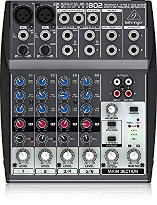 Behringer Xenyx 802 Premium 8-Input 2-Bus Mixer with Xenyx Mic Preamps and British EQs from Behringer USA
