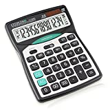 Professional Desktop Calculator with 14-Digit Large Display, Solar and Battery Dual Power Calculator with Big Buttons, Check Function Basic Calculator for Office, School, Home and Business