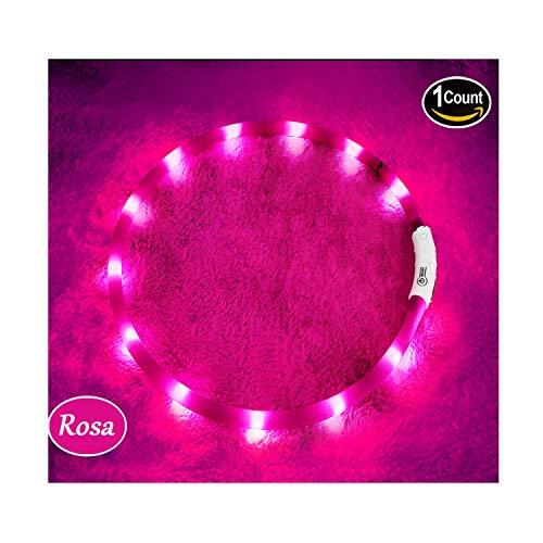 KABB LED Hundehalsband, USB wiederaufladbar Nacht-Sicherheit Hunde Halsband Längenverstellbareres Hunde Halsband mit DREI Beleuchtungsmodi für Hunde, Rosa