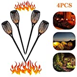 太陽のトーチのライトちらつき炎、ダンス炎、ソーラーガーデンライト、屋外の防水庭の装飾、太陽のバーライト(4個セット)