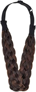 Winopey 5 Strands Synthetic Hair Braided Headband Hairpiece Classic Chunky Wide Plaited Braids ElasticMulti-Color Headband Ladies Beauty Headwear (Five dice A)