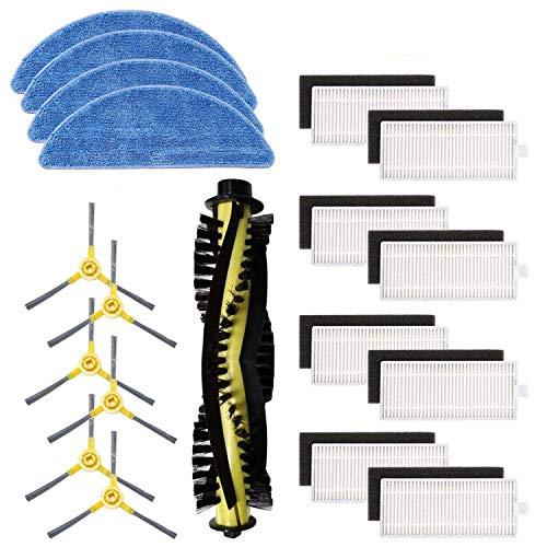 Tekehom Kit di accessori di ricambio per aspirapolvere robot IKOHS netbot S15, confezione da 1 spazzola principale + 8 filtri + 6 spazzole laterali + 4 scopi