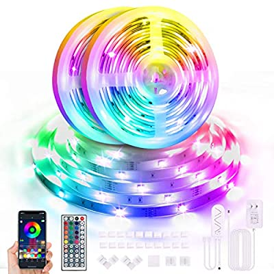 65.6ft LED Strip Lights Bluetooth, Color Changing Led Light Strip with Remote and App Control, RGB Music Sync LED Lights for Bedroom, Party, Home Decoration (2x32.8FT)