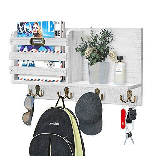 Greenstell Mail Sorter Organizer Wood Key Holder Organizer, Rustic Wall Mail Holder with Tags Frame & 4 Key Hook Rack for Entryroom, Mudroom, Hallway, Kitchen, Office White Gray