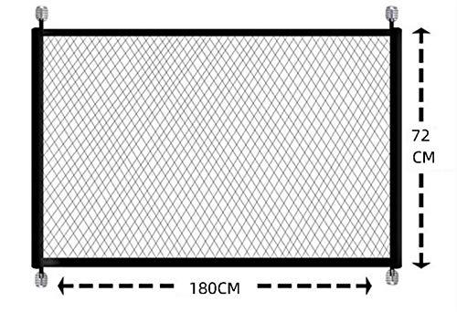 SUIBIAN Valla Plegable portátil de Malla mágica para Puertas de Seguridad para Perros Guardia Segura para bebés Instalar en Cualquier Lugar Escaleras Interiores al Aire Libre-Negro_110CMX72CM