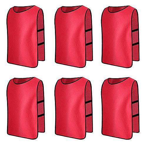 6 X Senston Deportes pinnies adulto Scrimmage chalecos de entrenamiento de fútbol baberos rojo y 3 Tamaño