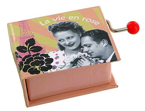 Boîte à musique à manivelle en forme de livre - La vie en rose (Louiguy/Piaf)