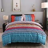 Pangzi Bohemian Duvet Cover Set Lightweight Microfiber Bedding Set No Comforter (Queen, A)