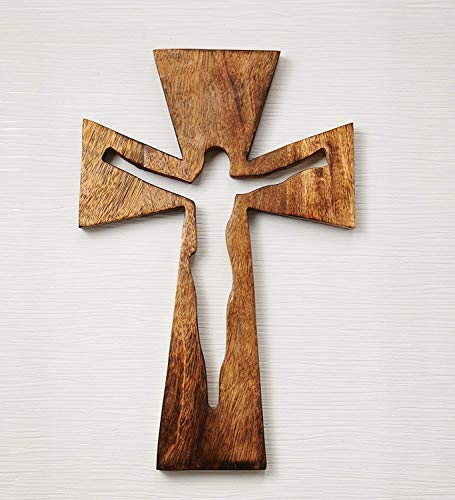 Eximious India Decorative Crucifix Wooden Wall Cross Art Plaque Handmade for Church Or Home Décor (Celtic 12X8)