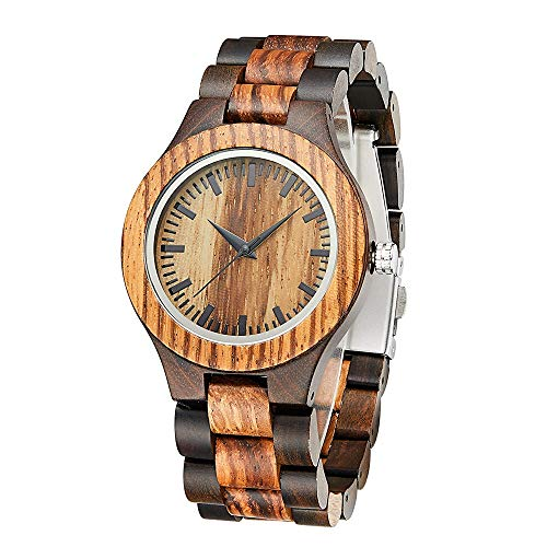 Handmade Unisex Wooden Watch Fashion Wood Watches for Men or Women Personalised Japanese Quartz Movement with Gift Box