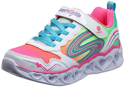 Skechers Kids Girl's Heart Lights-Love Spark Sneaker, White/Multi, 1 Medium US Little Kid