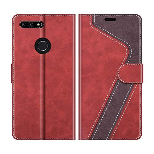 MOBESV Handyhülle für Huawei Y6 2018 Hülle Leder, Honor 7A Handyhülle, Huawei Y6 2018 Klapphülle Handytasche Case für Huawei Y6 2018 / Honor 7A Handy Hüllen, Modisch Rot