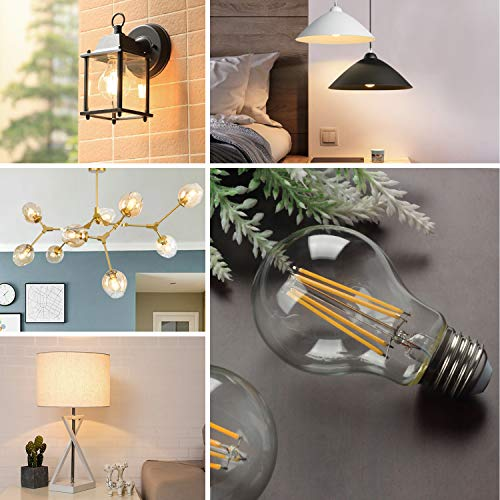 Boncoo Vintage LED Edison Bulb Dimmable 6W A19 LED Light Bulbs 2700K Soft White 600LM Led Filament Bulb 60W Incandescent Equivalent E26 Medium Base Decorative Clear Glass for Home, Cafe, Office 6 Pack