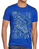 style3 NES Controlador Fotocalco Azul Camiseta para Hombre T-Shirt 8-bit Mario Donkey Bros Kong, Talla:3XL, Color:Azul