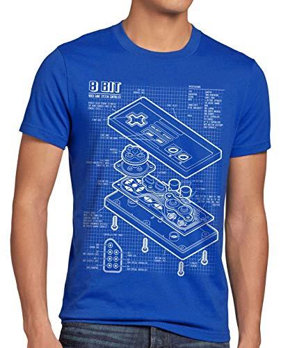 style3 NES Controller Blaupause Herren T-Shirt Classic 8-Bit Mario Donkey bros Kong, Größe:XXXL, Farbe:Blau