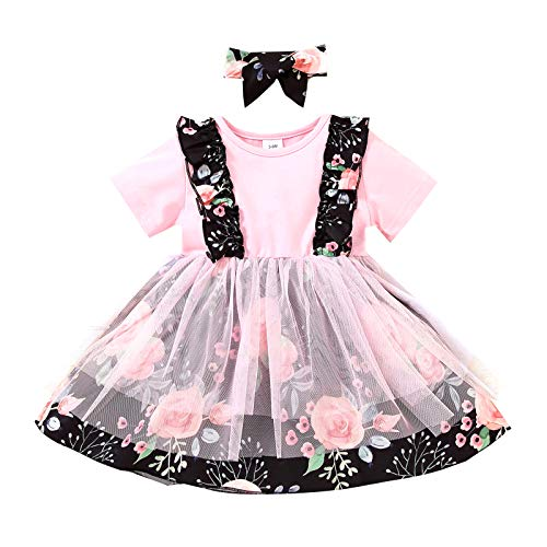 Vestido con Volantes de Manga Corta para Bebé Vestido de Malla con Estampado Floral para Niña Pequeña con Diadema Traje de Falda de Moda de Princesa Rosa para Niñas de 3 a 18 M