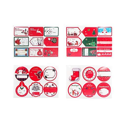 NiceButy Lot de 4 Stickers de Noël Stickers Stickers Décoration Cadeau Stickers Autocollant Papier d'emballage
