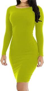 Hioinieiy Womens Crew Neck Long Sleeve Midi Bodycon Dress